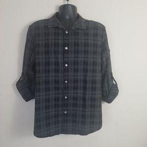A|X Armani Exchange Plaid Casual Button Down Shirt